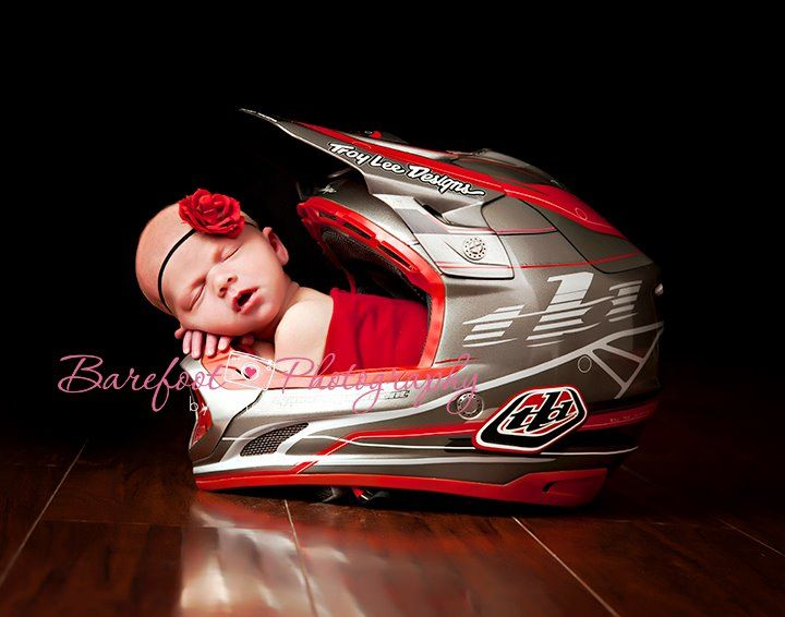 Barefoot Photography by Tina Doane.  Newborn in motorcycle helmet.  Ian has a colorful one that would look cute @Brooke Stephens