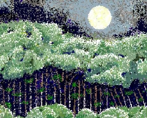 """Avon Woods"" - Hal Lasko http://www.hallasko.com/ Legally blind 97-year-old makes masterpieces with simple Paint app. A crop of Lasko's piece ""Avon Woods"" shows his super-pixelated technique, somewhere between pointillism and 8-bit pixel art."