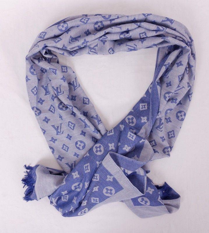 Длинный шарф Louis Vuitton (шёлк + шерсть), цвет голубой джинсовый. Размер 180x65cm #19993