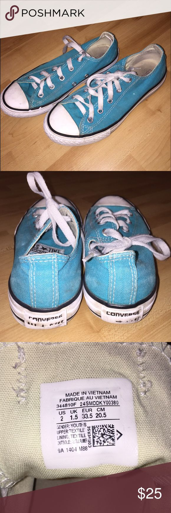 Turquoise Converse Turquoise Converse in youth size 2 but fits like a women's size 5. I have five pairs of these and they all fit me perfectly as a 5! These Chucks come preloved and in VERY GOOD condition with lots of life left. The perfect shade of blue! My prices fluctuate from time to time. Catch items when the prices are low!❤️ Converse Shoes Sneakers
