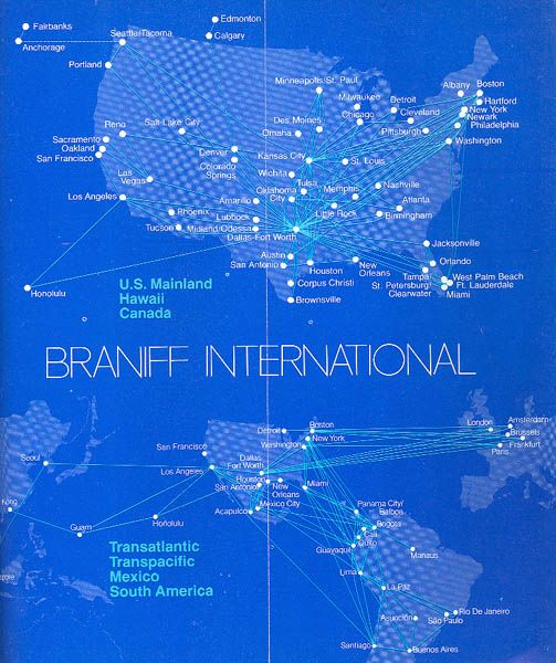 Braniff system-wide map, 1979