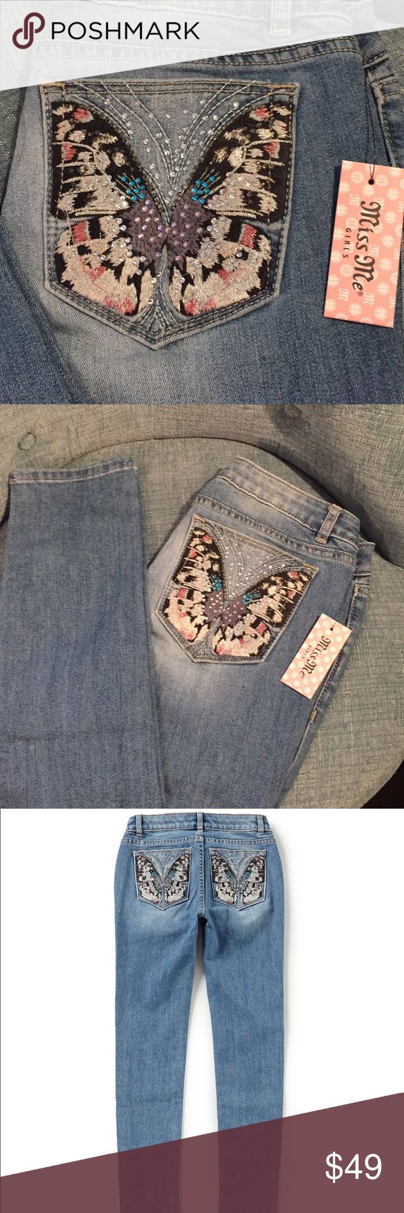 Girls miss Me jeans Pretty butterfly Miss Me jeans. Sz 16 skinny fit Miss Me Bottoms Jeans