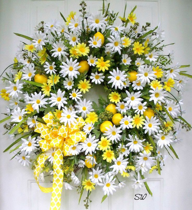 Summer Wreath,Any Season,Daisy Lemon Wreath-Kitchen-Door-Wall Wreath-Wispy/Full #Handmade