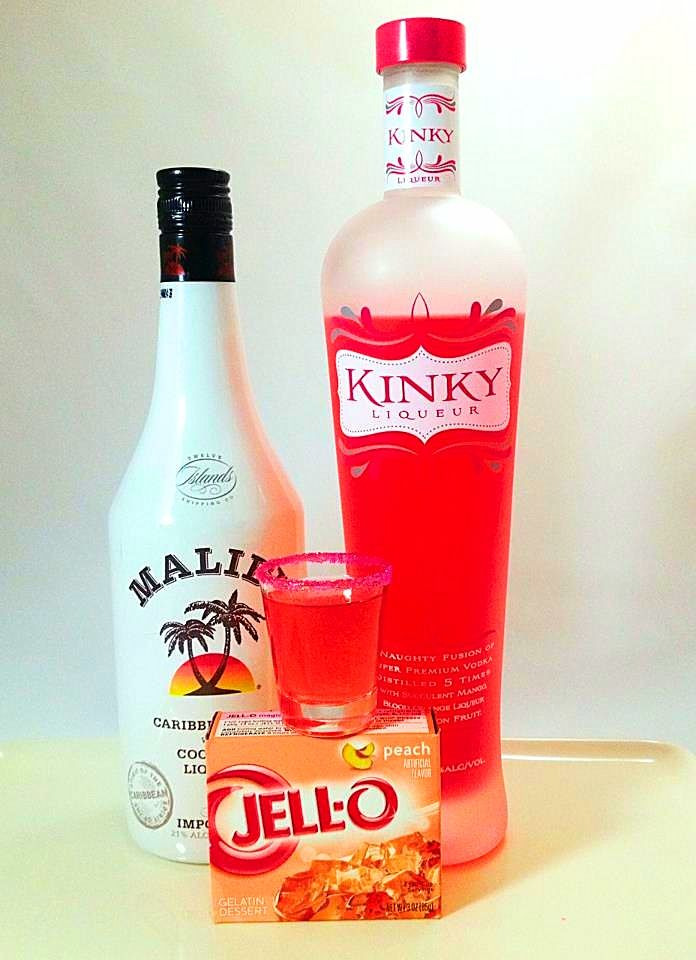 Kinky Malibu Barbie Jello Shots! **1 box Peach Jello dissolved in 1 cup boiling water + 1/2 cup Kinky Liqueur + 1/2 cup Malibu Coconut Liqueur. Jellinate. Chill. Serve. :) ♡ My Fun & Fabulous 1950's Mom #KINKYCheersToMom