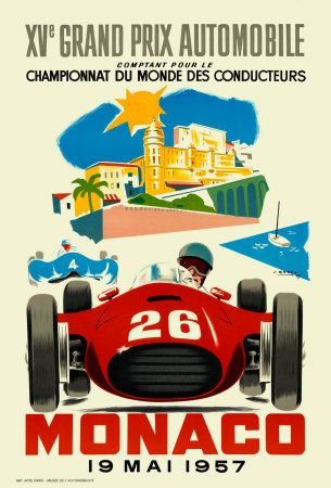 pinterest.com/fra411 #car #poster Monaco Grand Prix, 1957