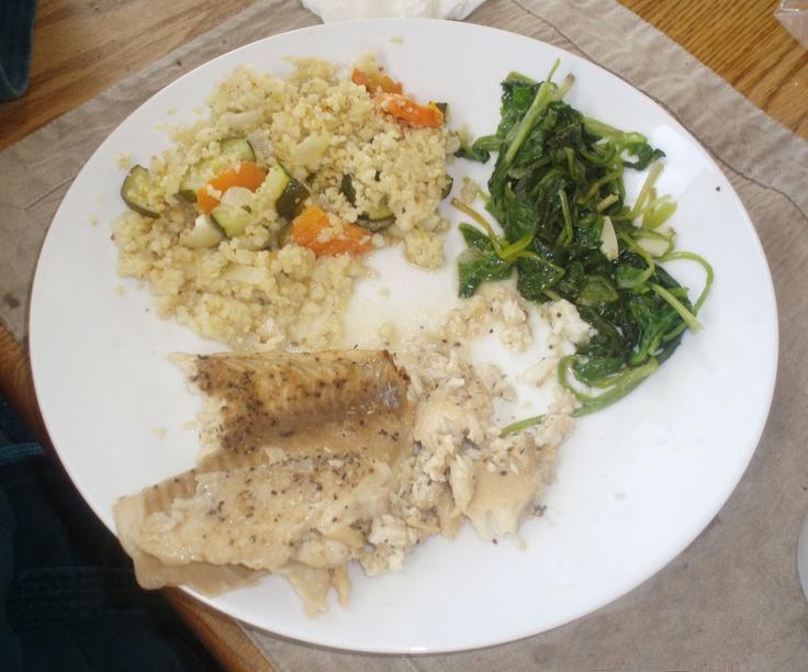 Lenten fish dinner tilapia spinach couscous eat for Best fish dinner near me