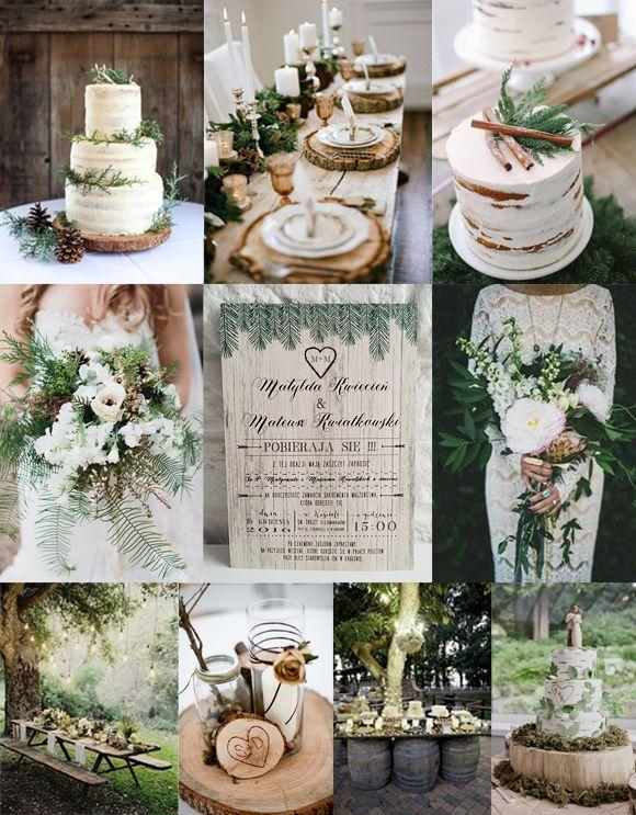 projekt ŚLUB - zaproszenia ślubne, oryginalne, nietypowe dekoracje i dodatki na wesele: Rustykalne zaproszenie ślubne UROK LASU z motywem drewna i gałązek świerku