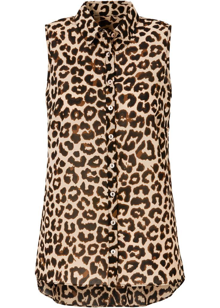Blouse luipaardprint donkerbruin/nude/cognac bruin/zwart - BODYFLIRT nu in de…