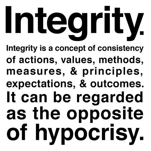 Integrity as the opposite of hypocricy