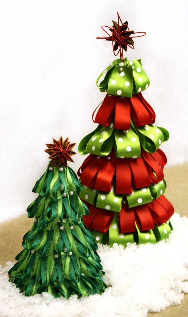 Christmas Ribbon Trees   Christmas Crafts   Pinterest
