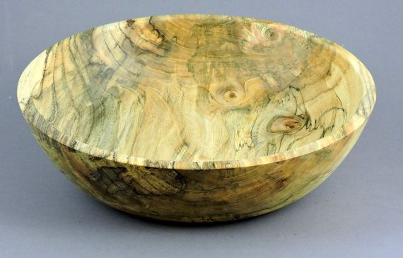 Item# be1601 Spalted Box Elder Salad/Utility Bowl. 13 7/8x 3 1/2. Finished with 100% Pure Tung Oil food safe finish.