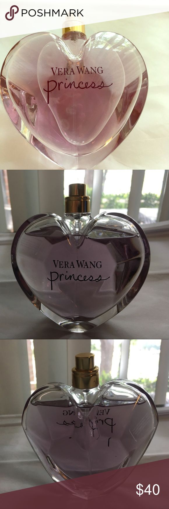 """Vera Wang Princess Perfume Large Bottle Vera Wang """"Princess"""" eau de toilette spray. Top notes: apricot, mandarin, apple and water lily. Middle notes: tuberose, guava, dark chocolate and tiare flower. Base notes: amber, vanilla and woodsy notes. 3.4 fl. oz./100 mL. Used only a few times- no top or box. I'll ship securely to ensure safe delivery! Vera Wang Other"""