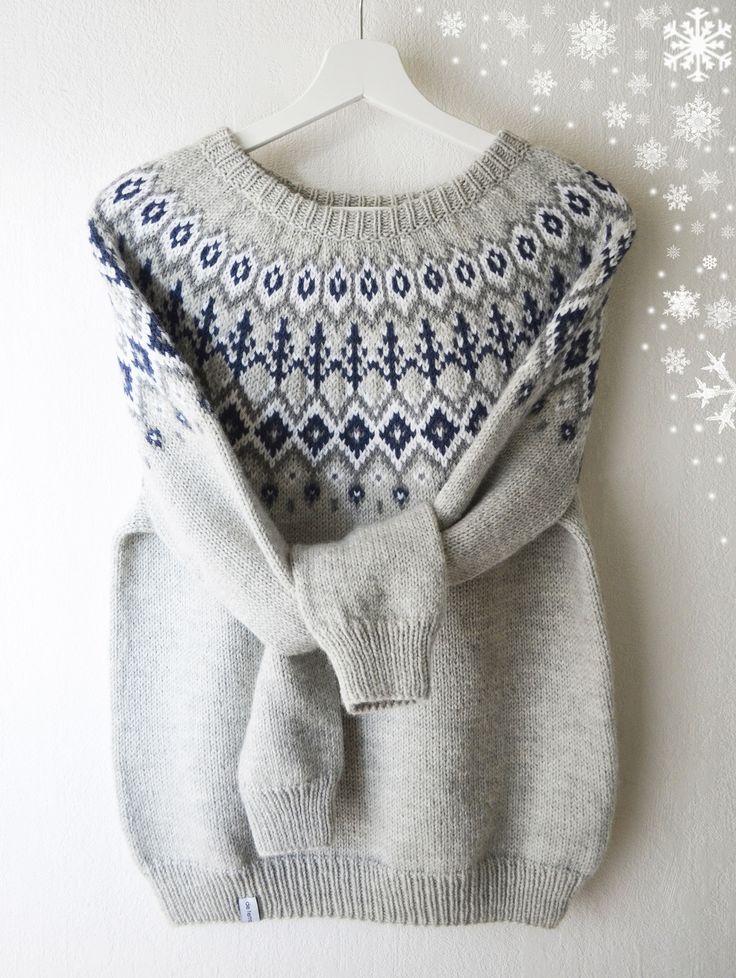 Pull jacquard style islandais lopapeysa tricoté main en laine et alpaga : Pulls, gilets par de-temps-en-temps