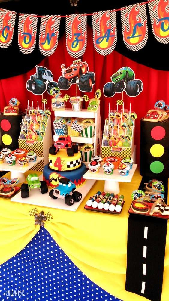 Blaze and the Monsters machines Birthday Party Ideas | Photo 1 of 12