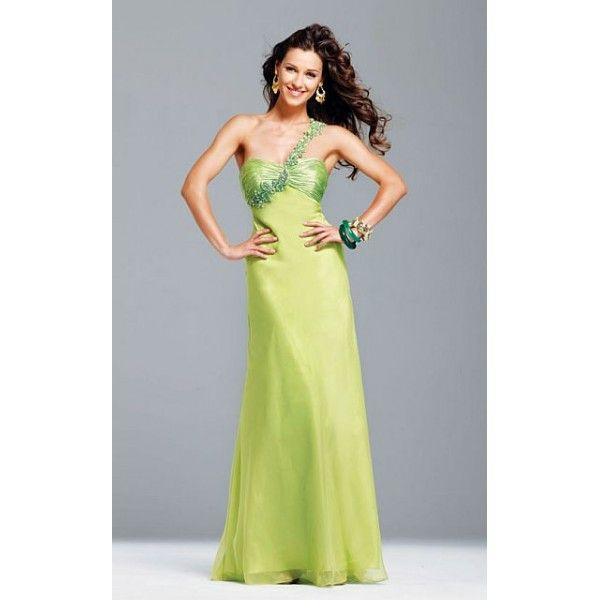Faviana Beyonce Inspired One Shoulder Neon Evening Dress 6506. #Oneshoulder, #Green, #Empire, #Corset, #Evening, #Dress. Only $285.99