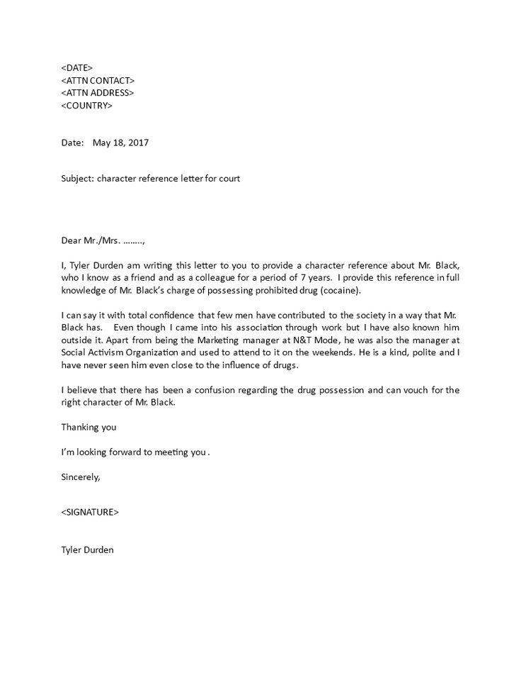 letter for court character reference jerry reference with sample