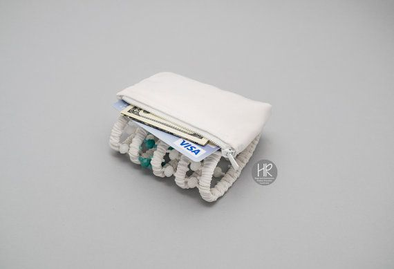 Bracelet wallet The Secret white and turquoise. Purse on the wrist for the money. Wide bracelet with a pocket, hand-made, made of white fabric with white and turquoise crystals. Pocket with a zipper. Please do not forget to specify its size. The photo shows how you can determine your