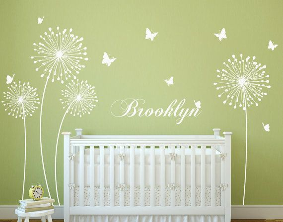 Dandelion wall decal with Butterflies Wall Sticker Decals Home Decor by DecalIsland - Stylish Modern Flowers with Butterflies SD 046