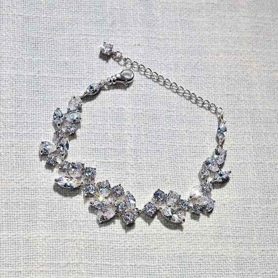 Handmade Fancy Cut Cubic Zirconia Bridal Bracelet Bridal