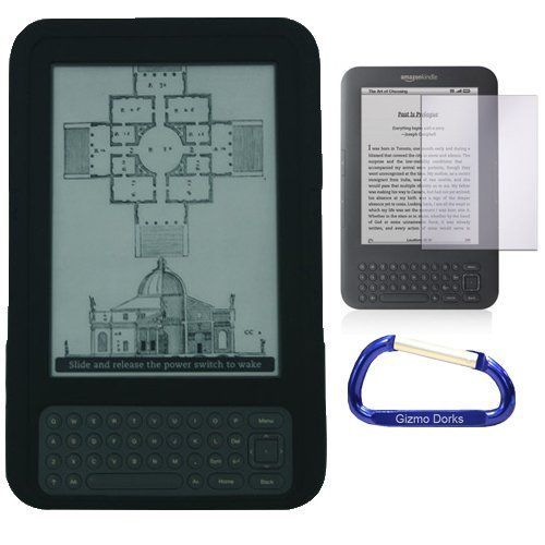 Gizmo Dorks Jelly Silicone Protection Pack (Black) with Carabiner Key Chain for Amazon Kindle Keyboard by Gizmo Dorks. Save 44 Off!. $4.77. The soft silicone skin adds a comfortable grip on an otherwise slippery surface.  The jelly cover will cushion blows from accidental drops on your device.