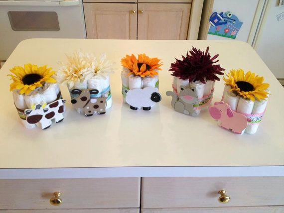 Farm Animal Diaper Cakes Baby Shower Gift Ideas