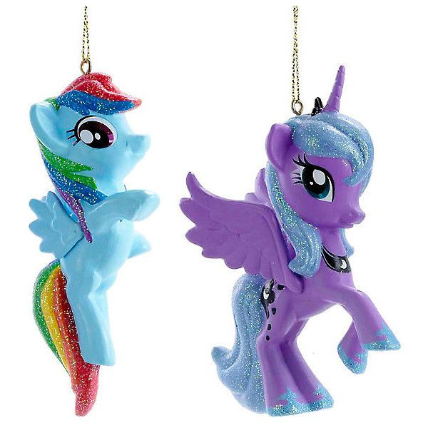 My Little Pony Rainbow Dash Princess Luna Ornament Set Hot Topic ($5.95) ❤ liked on Polyvore featuring home, home decor, holiday decorations and my little pony