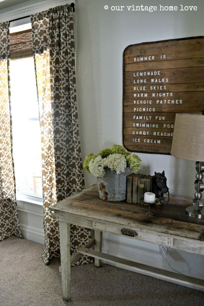 Love the curtains from Target and the collection of objects on the table.  Via Our Vintage Home: Winter Spring Summer Fall, Menu Board, Wall Hanging, Target Curtains, Summer Signs, Curtain Fabric, Vintage Homes