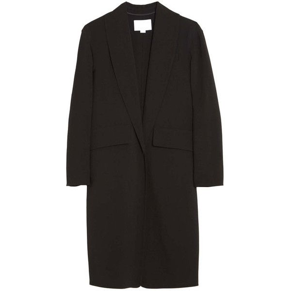 Alexander Wang Oversized Wool Blazer ($895) ❤ liked on Polyvore featuring outerwear, jackets, blazers, black, woolen jacket, oversized jacket, alexander wang blazer, black blazer and long wool jacket
