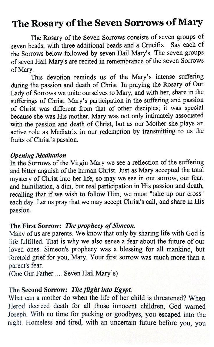 7 Sorrows of Mary-Rosary & Devotion