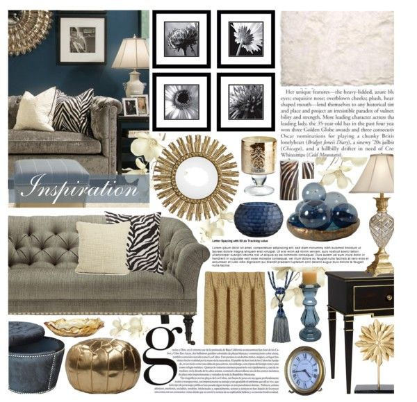 """Blue and Gold Lliving Room"" by hmb213 on Polyvore"