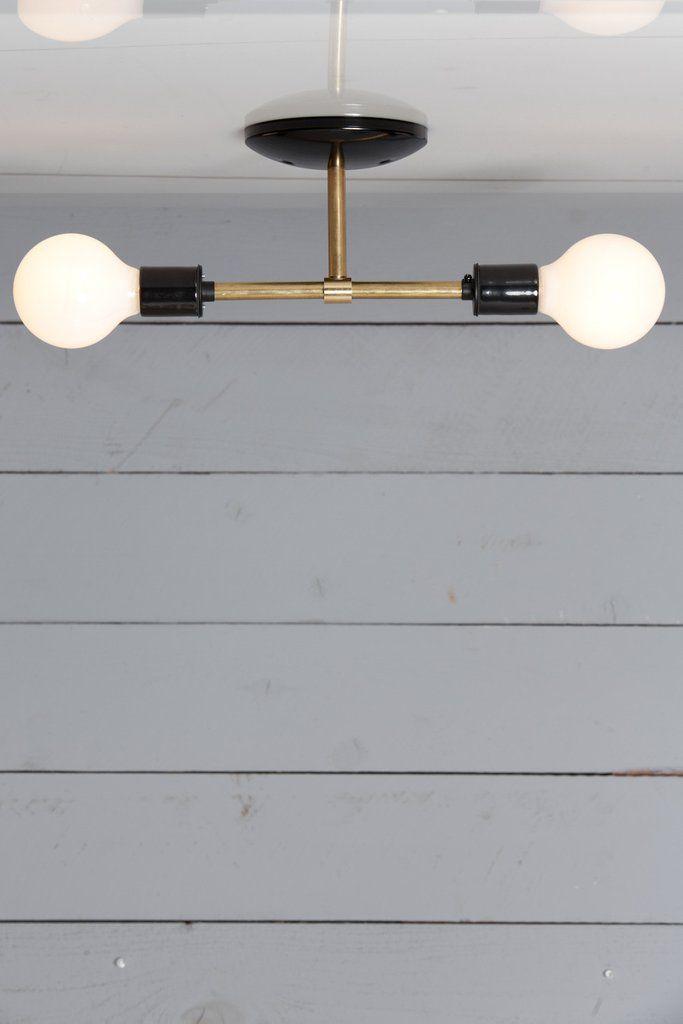 Brass Semi Flush Mount Double Ceiling Light Ceiling