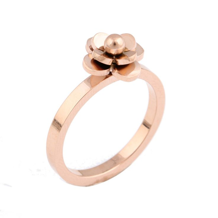 Rose flower gold Engagement rings for women high quality statement ring designer jewelry