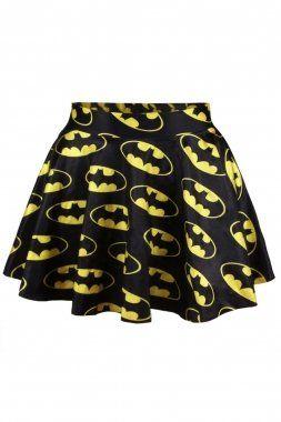 Gonna-tutù con stampa di Batman da donna, abbigliamento estivo, taglia 42-44, colore: Nero