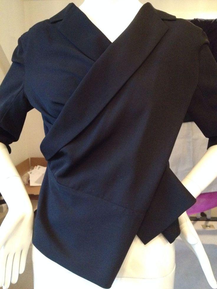 1990s YOHJI YAMAMOTO Black Asymmetric Draped Wool Jacket w Exposed Zipper | eBay