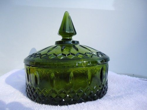 Antique Dishes | Vintage Green Cut Glass Round Candy Dish | slaminsami - Glass on ...