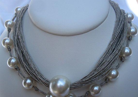 Collier Linen Natural Perles Fantasie Noeuds par espurna88 sur Etsy