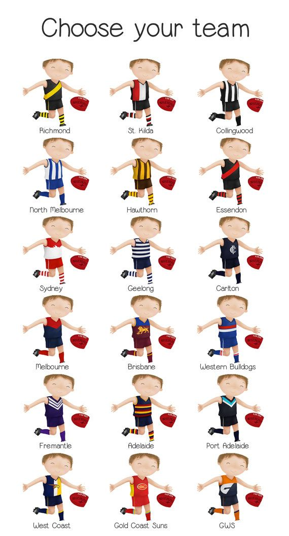 Personalised AFL Print Australian Football Childrens Art by SweetCheeksImages