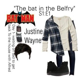 """Justine Wayne - Batgirl"" by j-j-fandoms ❤ liked on Polyvore featuring Hollister Co., Abercrombie & Fitch, Converse and Motorola"