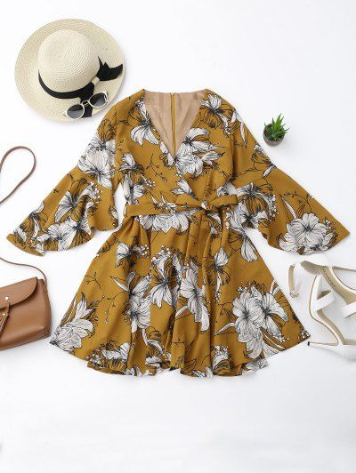 GET $50 NOW | Join Zaful: Get YOUR $50 NOW!http://m.zaful.com/belted-flare-sleeve-floral-surplice-dress-p_291901.html?seid=4377811zf291901