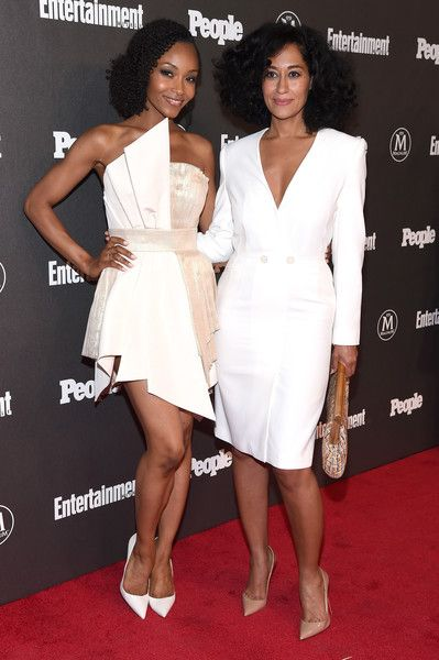 Actors Yaya DaCosta (L) and Tracee Ellis Ross attend the Entertainment Weekly & People Upfronts party 2016 at Cedar Lake on May 16, 2016 in New York City.
