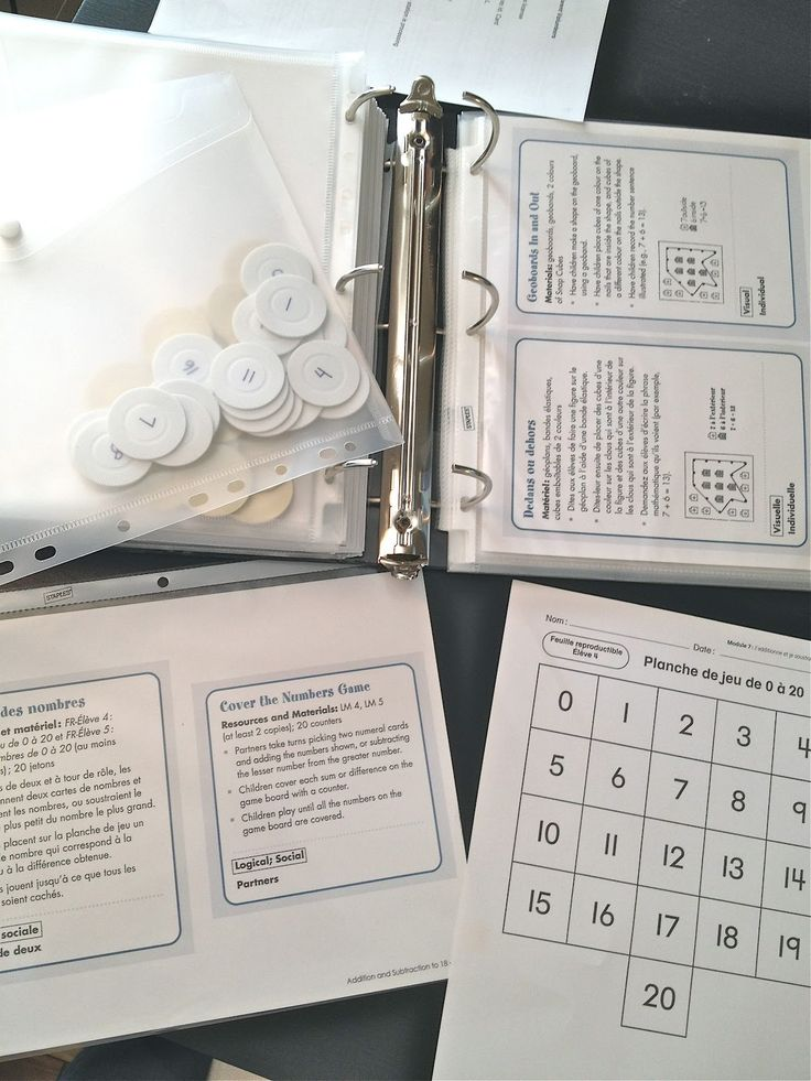 A compilation of printable French math games, addition and subtraction to 20, for grade 1 from Pearson Math . Instructions are in both French and English. Laminate game boards and instructions to re-use.