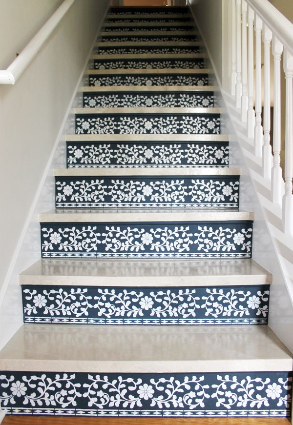 Learn how to stencil stair risers using the Indian Inlay Stencil kit designed by Kim Myles from Cutting Edge Stencils. http://www.cuttingedgestencils.com/indian-inlay-stencil-furniture.html