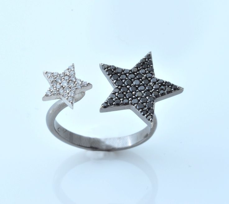 Black and White Diamond Star Ring - By Hala