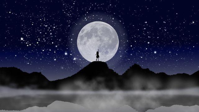 소녀와 달 밤하늘 그림 소녀 문 반사 그림 이미지를 Pngtree 로열티 무료 Night Skies Background Background Images