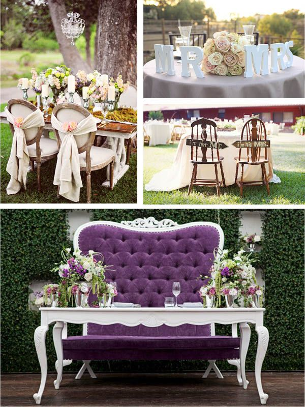 Absolutely in love with the idea of a love chair for the bride and groom to share...not to mention an un-clothed table to show off the dress and the shoes!