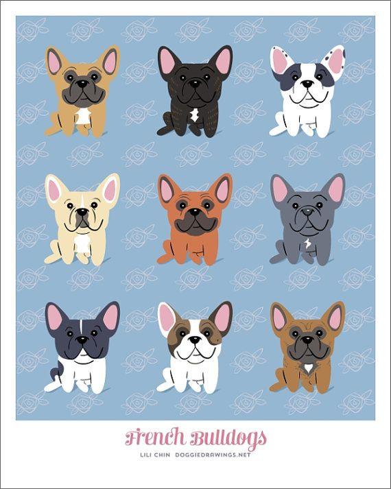Raza de BULLDOG francés  impresión de arte por doggiedrawings