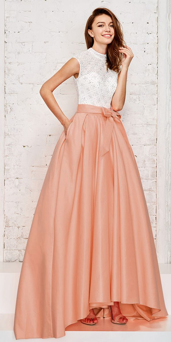 Fashionable Lace & Satin High Collar Neckline Cap Sleeves Cut-out Hi-lo A-line Prom Dress With Hot-fix Rhinestones & Pockets & Belt