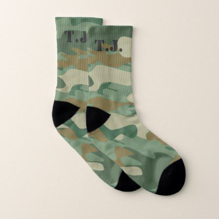 Custom monogram green army camo camouflage socks - click/tap to personalize and buy