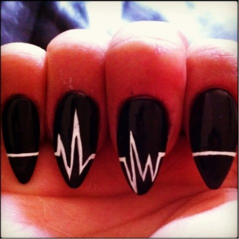 DIY Heartbeat nail art