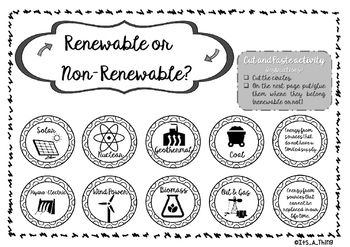 This is a cut and paste activity about renewable or non-renewable energy.You can choose the colour version or the black and white (my kids preferred the b&w so that they can coloured it). Besides two versions you have the instructions, the place to sort after they cut and an answer key.